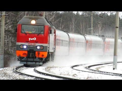 Микс «Пассажирские зимой» с электровозом ЭП2К