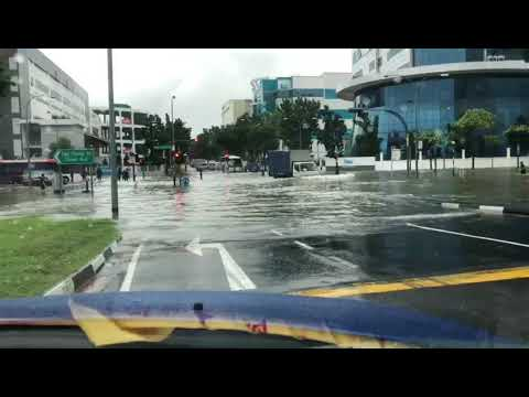 Heavy Rain Brings Flash Floods in Eastern Singapore