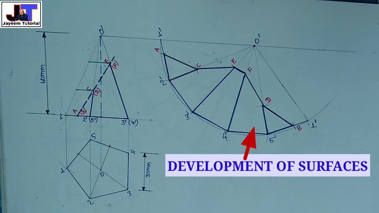Development of surfaces (problem#7) of pentagonal pyramid ...