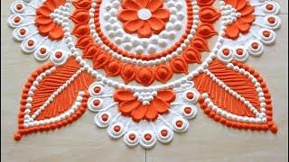 Navratri rangoli designs using 2 colours l Diwali rangoli designs with colours l नवरात्री रांगोळी
