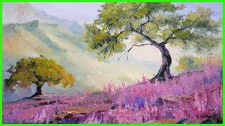 Урок живописи маслом. Простая картина с деревом