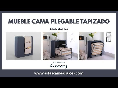Mueble cama plegable tapizado con ruedas y ocupa poco for Mueble cama plegable conforama