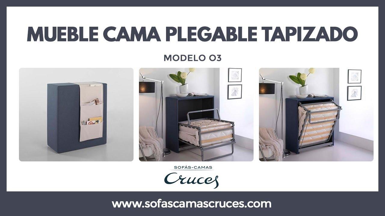 Mueble cama plegable tapizado con ruedas y ocupa poco