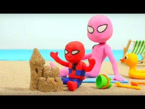 Spiderman Baby & Spidergirl Play Doh Cartoons - Superhero Babies, Frozen Elsa & Hulk Stop Motion