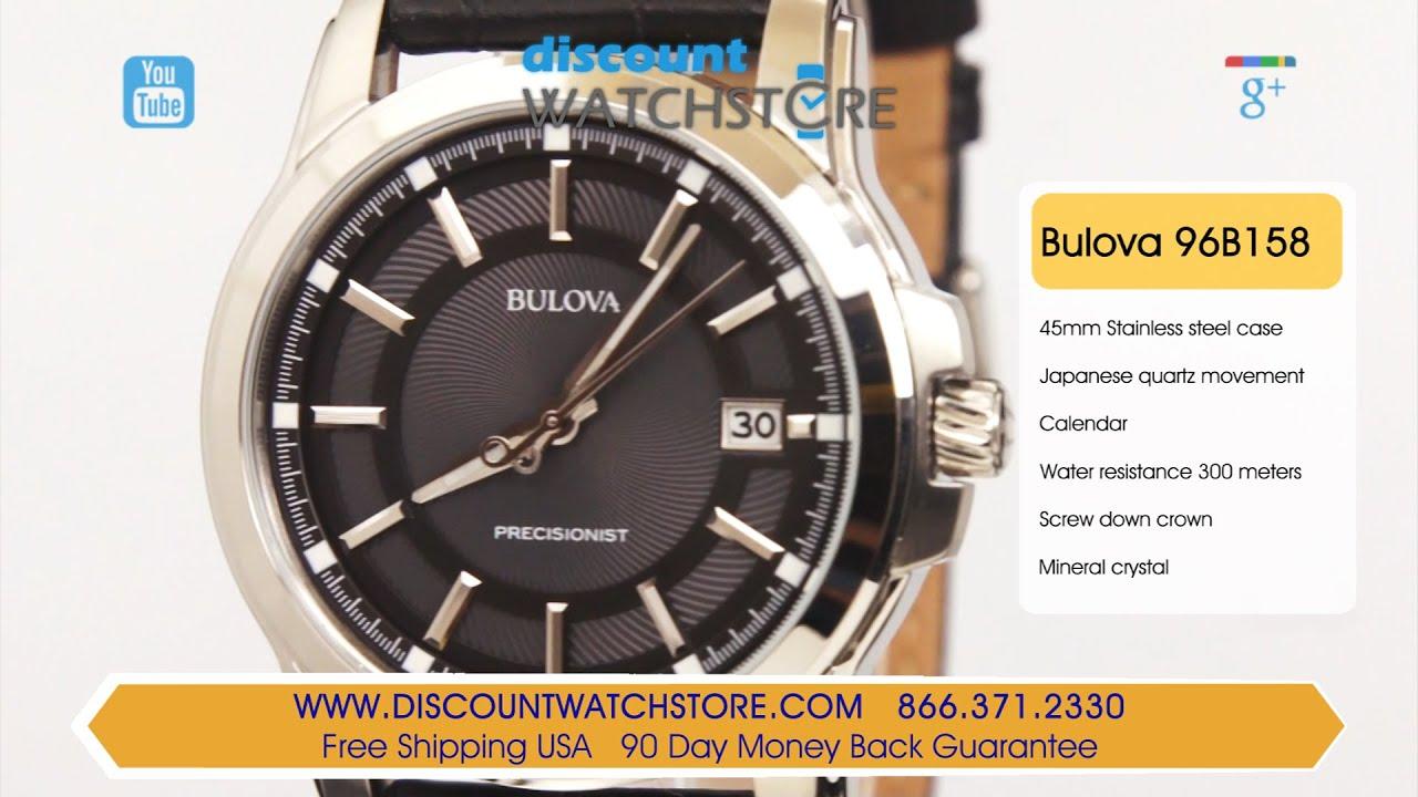 ea3f9e3cc Bulova 96B158 Men's Precisionist Grey Dial Black Leather Strap Watch Review  Video