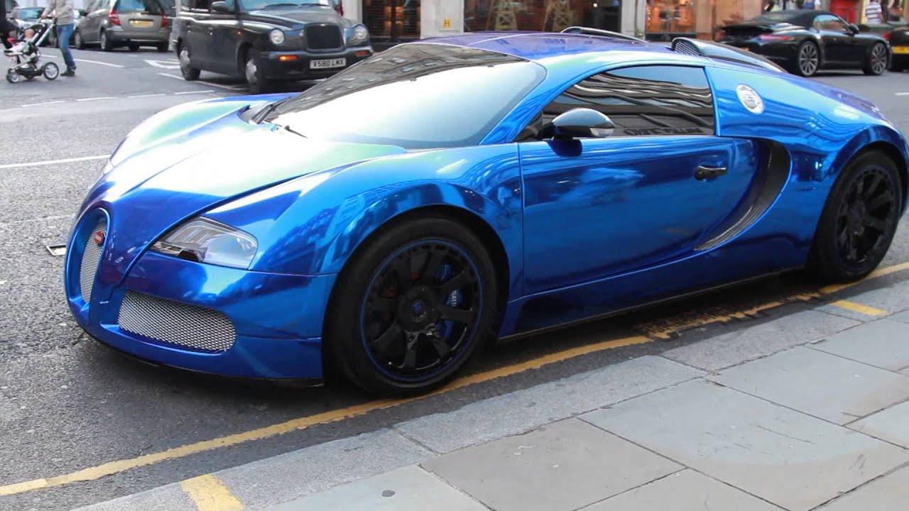 bugatti veyron l'edition centenaire wrapped in chrome blue. - full