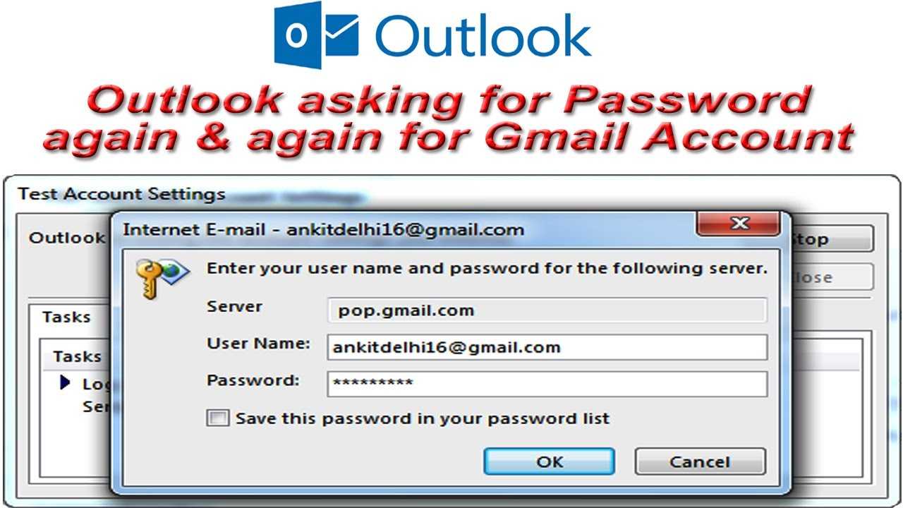 Outlook cannot Connect to Gmail | Asking for Password again & again | Allow  less secure apps Gmail