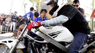eko kodok dan yogie keycot with kawasaki ninja drag bike indonesia