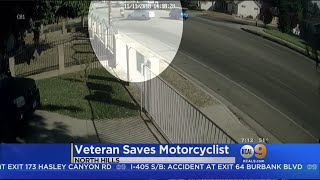 VIDEO: Veteran Saves Motorcyclist Who Was Catapulted In Crash