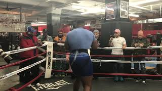 Jarrell Miller shadowboxes, punches mitts at media workout
