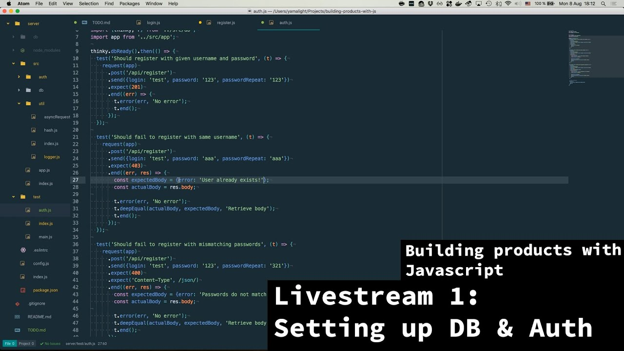 Building products with javascript - Livestream 1 - Setting up DB and Auth