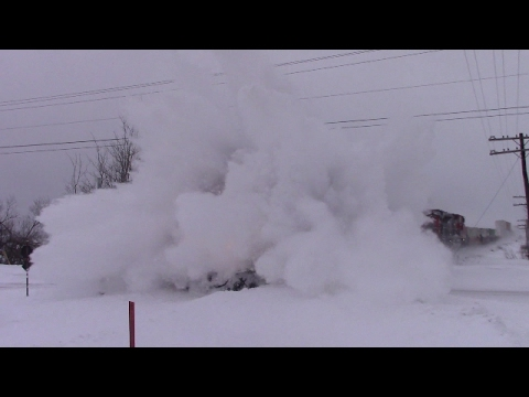 Thumbnail: Train vs Snow Bank! CN Train 120 Dashing thru the Snow at Memramcook, NB (Feb 14, 2017)