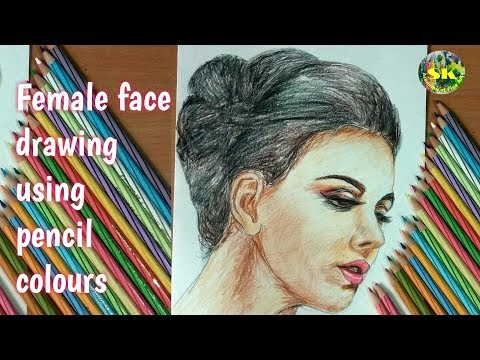 Face drawing || pencil colours || how to draw a female face using pencil colours