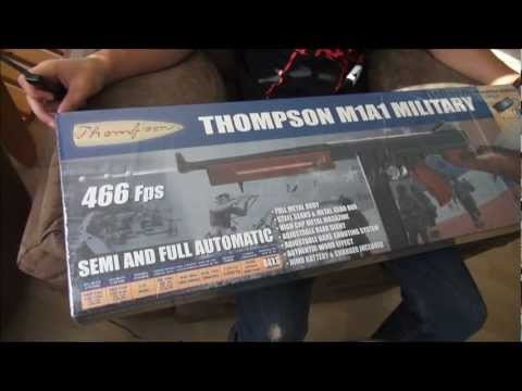 Thompson M1A1 Military Airsoft Rifle unboxing and test firing