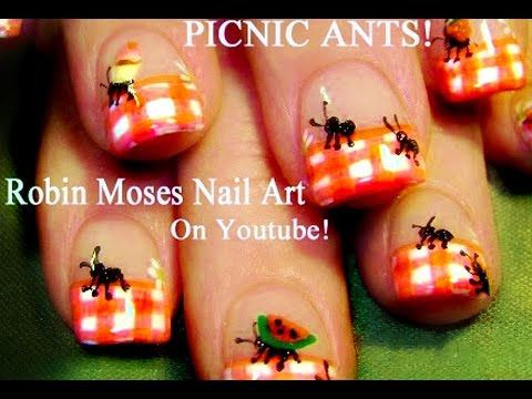 nail art tutorial  diy easy summer nails  ants at a
