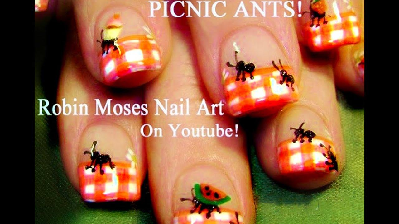 diy easy summer nails picnic ants nail art design youtube