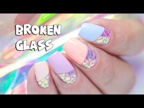 BROKEN GLASS NAIL ART with Iridescent Foil