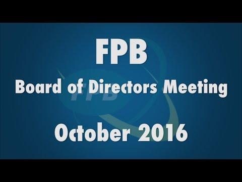 FPB Board of Directors Meeting October 2016