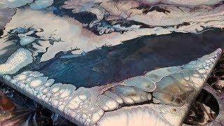 (128) Acrylic pouring dirty pour, tree ring pour  Pour painting, fluid art cloud effect flow art