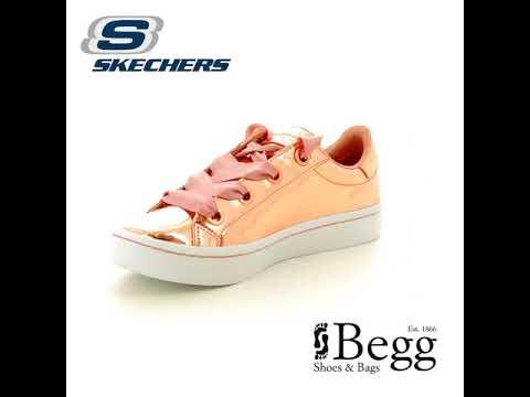 5ea2829a9aaf Skechers Hi Lites Liqui SN958 RSGD Rose gold trainers - YouTube