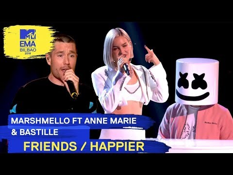 Marshmello Ft. Anne - Marie & Bastille - FRIENDS / HAPPIER | 2018 MTV EMA Live Performance