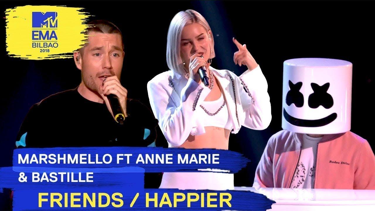 Marshmello Ft. Anne-Marie & Bastille — FRIENDS / HAPPIER | 2018 MTV EMA Live Performance