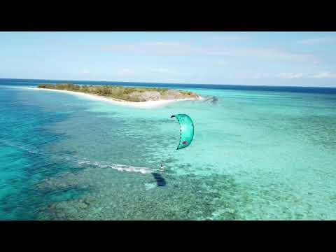 Kiteboarding at Ilot Ua, Southern Reef, New Caledonia Jan 2018