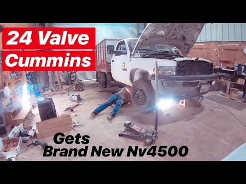 5 SPEED TRANSMISSION SWAP ON 24 VALVE CUMMINS! BRAND NEW NV4500!!