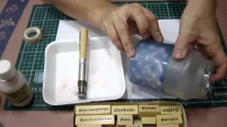 diy jateado no vidro reciclado com carimbos e estêncil