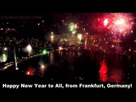 frankfurt germany happy new year street party and fireworks show 2016