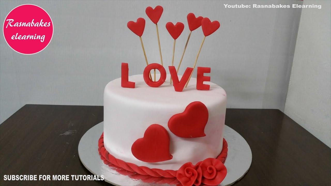 Simple Easy Valentine Love Cake Or Happy Birthday Cake Wife Design Ideas Decorating Tutorials Video Youtube