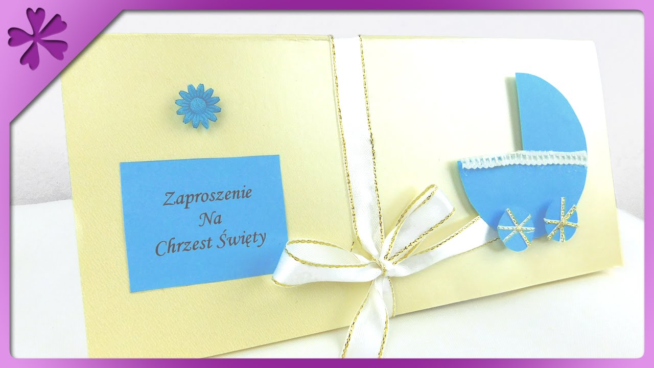 DIY Baptism invitation card ENG Subtitles Speed up 187 YouTube