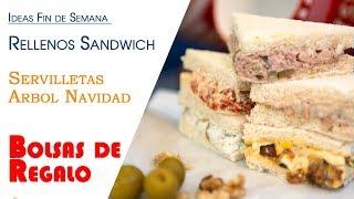 Ideas Fin de Semana, rellenos Sandwich Fiestas, Servilletas Arbol Navidad y Bolsa Regalo