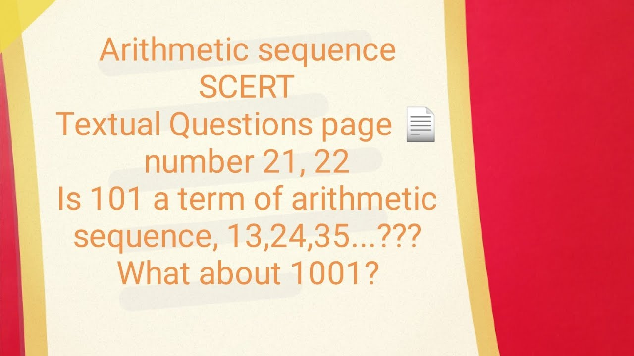 Download Arithmetic sequence scert textual questions page number 21,22