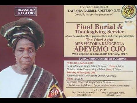 Olori Agba Victoria Kajogbola Ojo Funeral PART 2