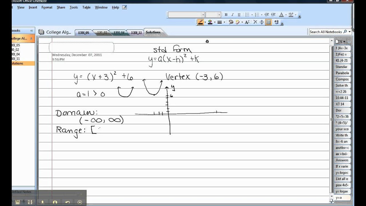 Domain and range of a parabola youtube domain and range of a parabola ccuart Choice Image