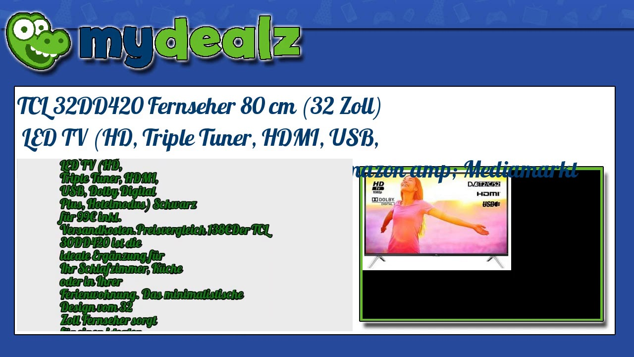 TCL 32d2700 32 inch LED TV deal for $159