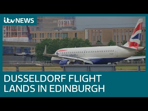 Düsseldorf flight lands in Edinburgh | ITV News