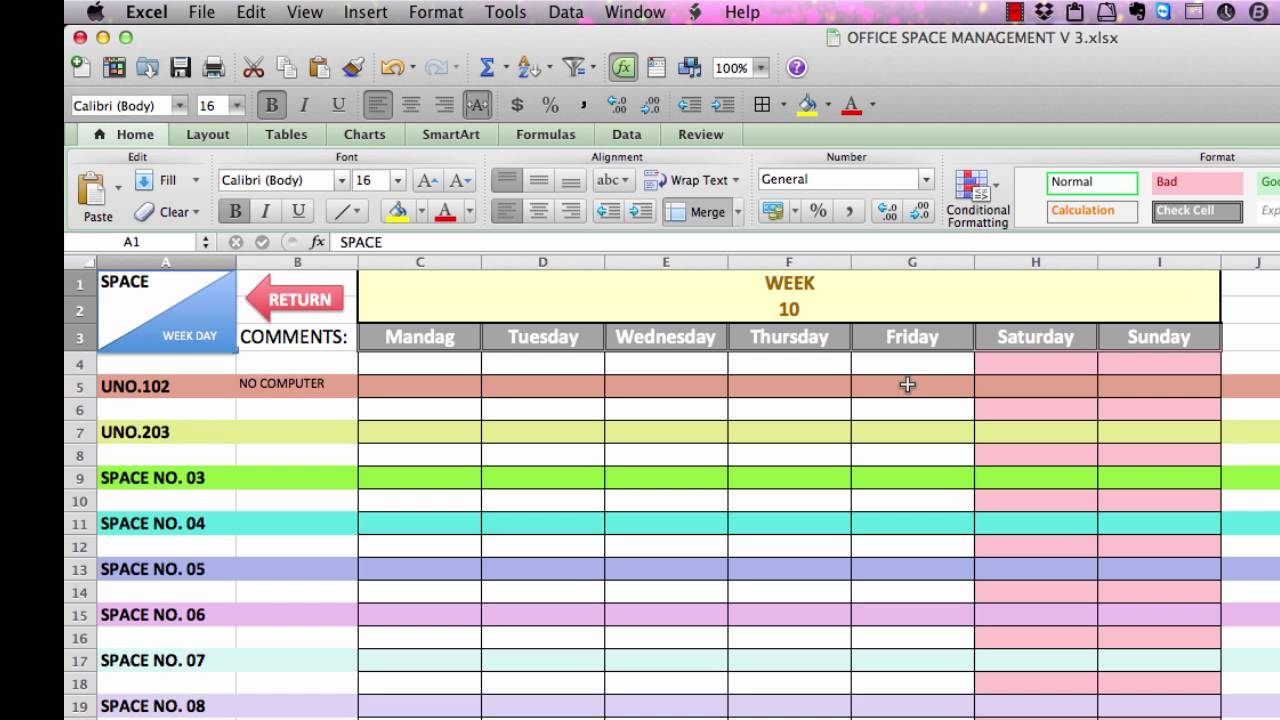 Office Space Management 2016 Spreadsheet Layout Youtube