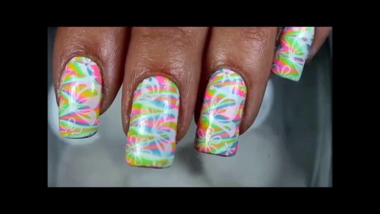 SPRING NAIL LOOK - watermarble + nail stamping - pueen ...