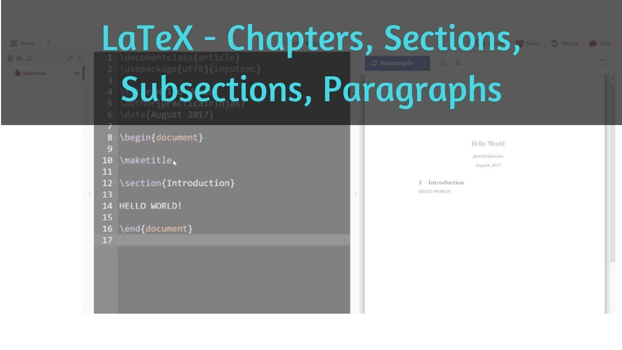 Chapters, Sections, Subsections, Paragraphs in LaTeX | Learn using  ShareLaTeX | Learning LaTeX 02