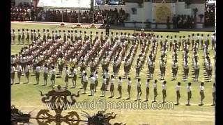 March past by the students celebrating 25 Year enthronement, 4th king of Bhutan
