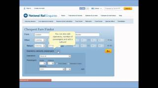 How to use the Cheapest Fare Finder on the National Rail Enquiries Website video