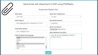 Send Email with Attachment in PHP using PHPMailer