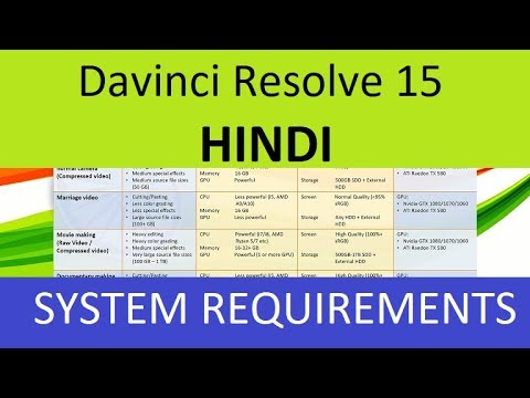 Davinci Resolve 15 - System Requirements