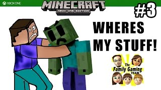 Dad & Kids play MINECRAFT XBOX ONE: Wheres My Stuff, Zombie? The Noob Quest (#3)