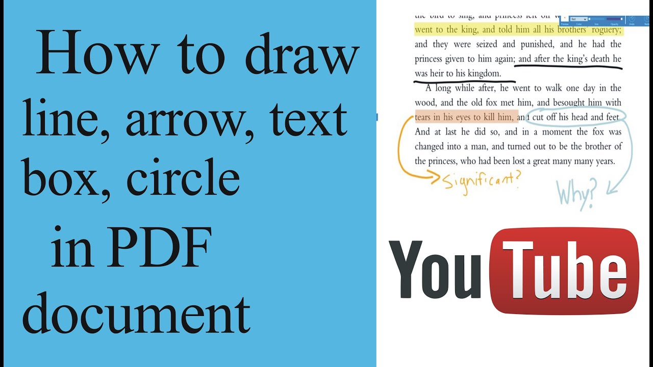 how to draw line, arrow, text box, circle, rectangle, underline in ...