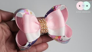 Two Tone Simple Ribbon Bow With Butterfly Bow Layer 🎀 DIY by Elysia Handmade