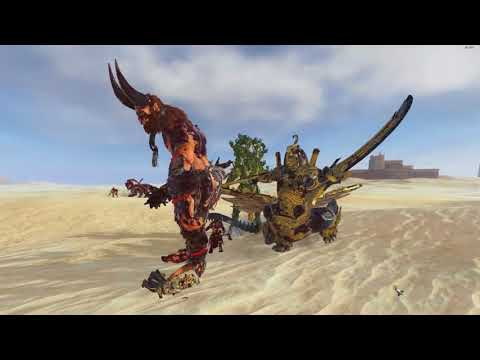 Necrosphinx And Treeman VS Dragon Ogre Shaggoth And Beastmen Giant - TW: Warhammer 2