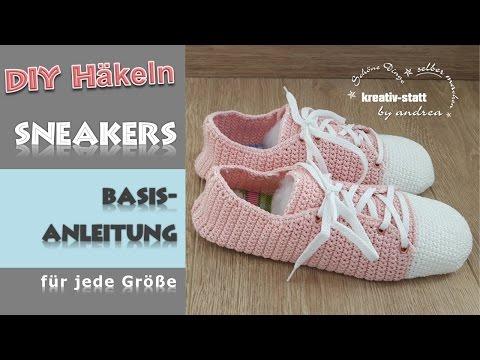 DIY Häkeln - Basis Anleitung Sneakers   Turnschuh - jede Größe - How To